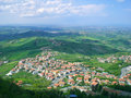 Small town among hills Royalty Free Stock Photography