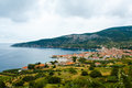 Small town on seashore on Vis Island in Croatia Royalty Free Stock Photo