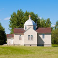 Small ukrainian orthodox christian church edifice building in prairies of alberta canada Royalty Free Stock Photos