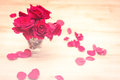 Small vase with red roses and petals on wooden table in soft focus image retro effect Stock Photos