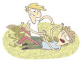 Small vignette illustration of two boys fighting is in eps mode elements are isolated in a group Stock Image