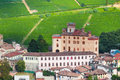 Small village castle Barolo among vineyards Stock Photo