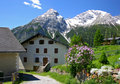 Small village in the Swiss Alps Stock Photo
