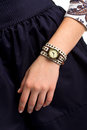 Small watch on girl's hand. Royalty Free Stock Photo