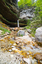 Small waterfall julian alps slovenia ultra wide photo Royalty Free Stock Image