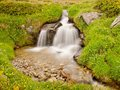 Small waterfall on mountain stream in summer meadow of alps cold and rainy weather misty at the end Royalty Free Stock Image