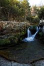 Small waterfall near morcuera madrid spain mountain pass Royalty Free Stock Image