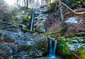Small waterfalls during the winter Royalty Free Stock Photo