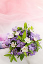 Small wedding bouquet violets apricot Royalty Free Stock Image
