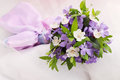 Small wedding bouquet violets apricot Royalty Free Stock Images