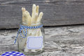 Small white asparagus in a glass jar Royalty Free Stock Photo
