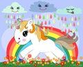 A small white cartoon pony on a glade with a rainbow, flowers, sun
