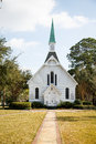 Small White Church Down Sidewalk Royalty Free Stock Photo