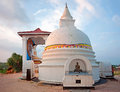 Small white stupa in unawatuna sri lanka at the sunset Royalty Free Stock Photography