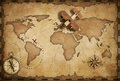 Small wood airplane over world nautical map as travel and communication concept