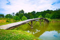 A small wooden bridge across a river Royalty Free Stock Photo