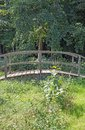 Bridge over a brook in a forest Royalty Free Stock Photo