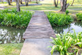 Small wooden bridge in the park Royalty Free Stock Photos