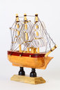 Small wooden model of sailing ship Stock Images