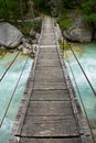 Small wooden,suspension bridge Royalty Free Stock Photo