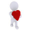 Smart 3D figure with heart Stock Photo