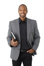 Smart black businessman with organizer Royalty Free Stock Photo