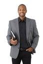 Smart black businessman with organizer