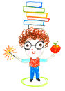 Smart boy with books on his head , oil pastel drawing illustrati Royalty Free Stock Photo