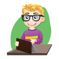 Smart boy playing tablet game from computer Royalty Free Stock Photos