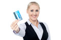 Smart business lady holding credit card attractive corporate woman with atm Stock Image