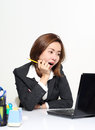 The smart business woman acting glad and success with her targets customer concept Stock Photos