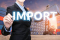 stock image of  Smart business woman is writing Import word