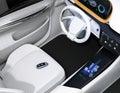 Smart car key on electric car`s passenger seat