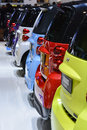 Smart cars on display during the geneva motor show geneva switzerland march Stock Photos