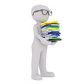 Smart Cartoon Figure Carrying Stack of Books Royalty Free Stock Photo