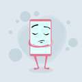 Smart Cell Phone Pink Cartoon Character Closed Royalty Free Stock Photo