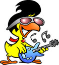 Smart chicken playing on guitar Royalty Free Stock Images