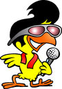 Smart chicken singing a song Stock Image