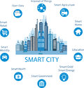 Smart city concept and internet of things with different icon elements modern design with future technology for living Royalty Free Stock Photo