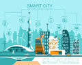 Smart city flat. Cityscape background with different icon and elements.