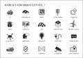Smart city icons and symbols