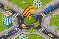 Smart city traffic and wifi on crossroad isometric 3D vector illustration of modern urban transport internet technology