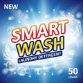 Smart clean soap banner ads design. Laundry detergent fresh clean Template. Washing Powder or Liquid Detergents Package