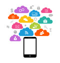 Smart device with cloud of application icons business infograph illustration infographics elements Royalty Free Stock Images