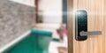 Smart digital door lock security Royalty Free Stock Photo