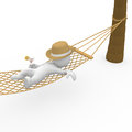 Smart figure chilling in hammock d Royalty Free Stock Photo