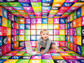 Smart future child portrait and d icons cubes Royalty Free Stock Image