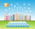 Smart green cities consume alternative natural energy sources with advanced intelligent services, and augmented reality Royalty Free Stock Photo
