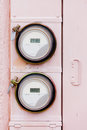 Smart grid residential digital power supply watthour meters Royalty Free Stock Photo