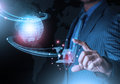 Smart hand holding world futuristic connection technology  with finger Royalty Free Stock Photo